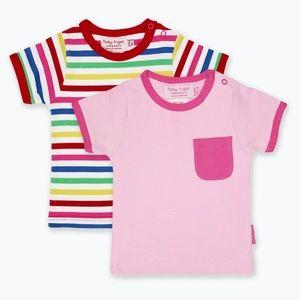 Organic Cotton Pink & Multi stripes 2-pack tshirts